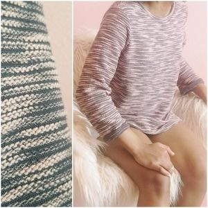 H&M Pink Grey Striped 3/4 Sleeve Hi-low Sweater